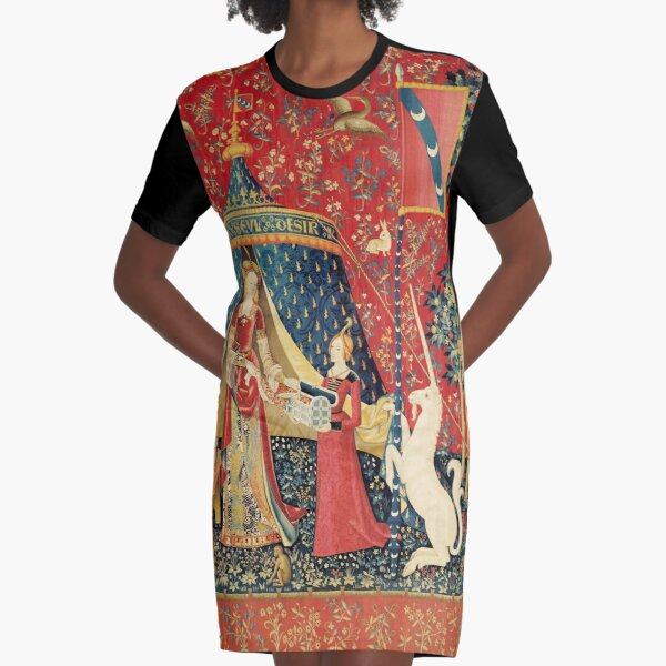 LADY AND UNICORN DESIRE ,Lion,Fantasy Flowers,Animals,Red Green Floral Graphic T-Shirt Dress