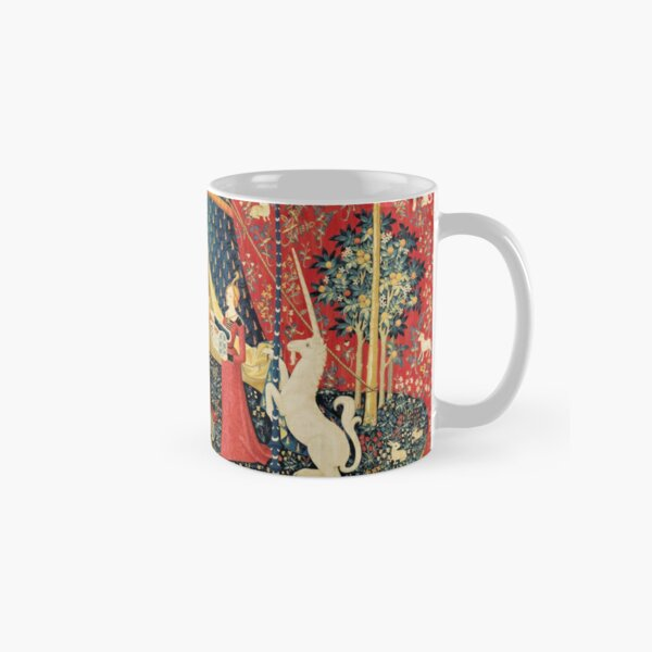 LADY AND UNICORN DESIRE ,Lion,Fantasy Flowers,Animals,Red Green Floral Classic Mug