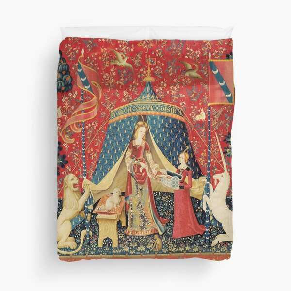 LADY AND UNICORN DESIRE ,Lion,Fantasy Flowers,Animals,Red Green Floral Duvet Cover
