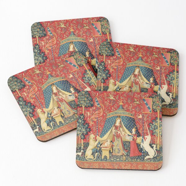 LADY AND UNICORN DESIRE ,Lion,Fantasy Flowers,Animals,Red Green Floral Coasters (Set of 4)