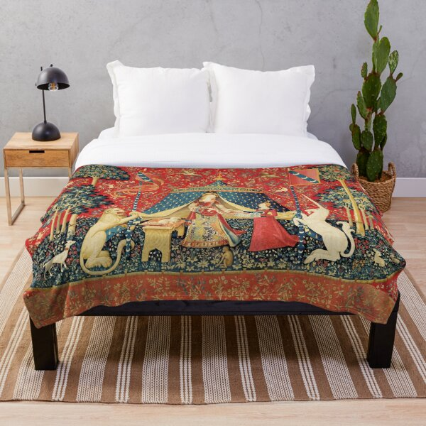 LADY AND UNICORN DESIRE ,Lion,Fantasy Flowers,Animals,Red Green Floral Throw Blanket