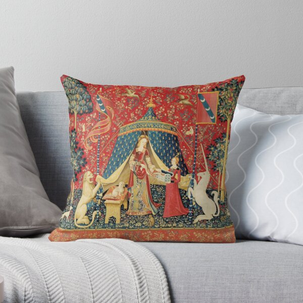 LADY AND UNICORN DESIRE ,Lion,Fantasy Flowers,Animals,Red Green Floral Throw Pillow