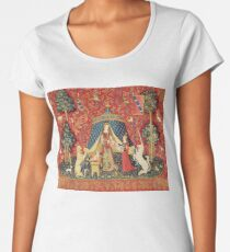 LADY AND UNICORN DESIRE ,Lion,Fantasy Flowers,Animals Red Green Floral Women's Premium T-Shirt