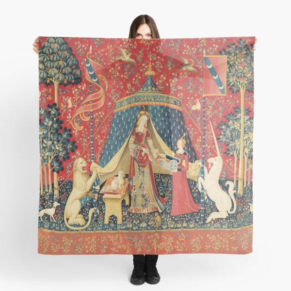 LADY AND UNICORN DESIRE ,Lion,Fantasy Flowers,Animals,Red Green Floral Scarf