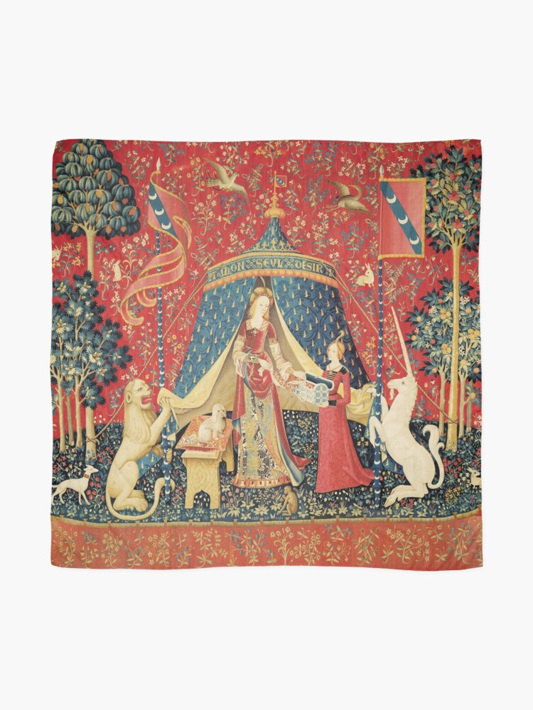 Alternate view of LADY AND UNICORN DESIRE ,Lion,Fantasy Flowers,Animals,Red Green Floral Scarf