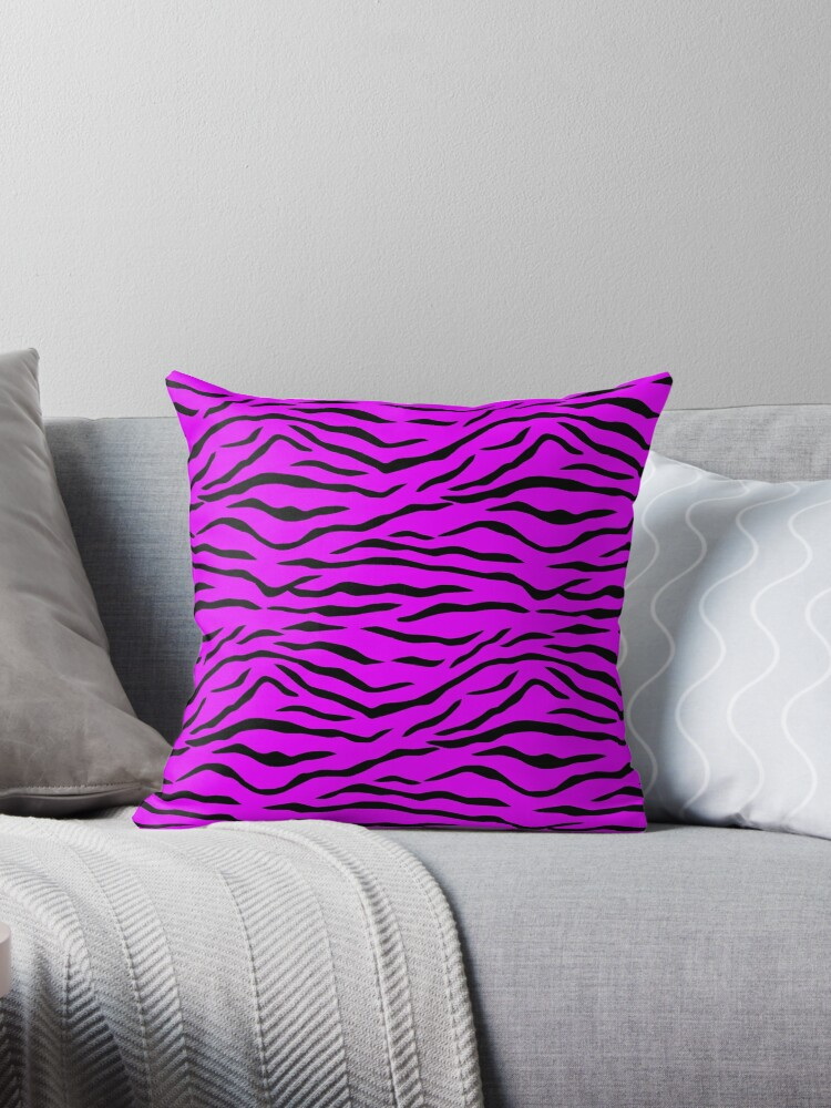 Hot Neon Pink and Black Jungle Big Cat Tiger Stripes by podartist