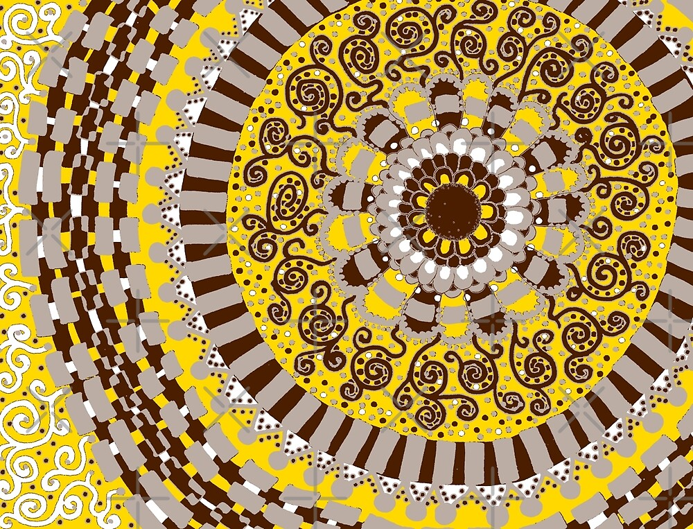 Yellow and Brown Mandala by Clare Wuellner