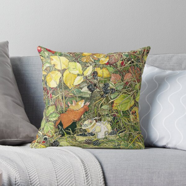 Blackberry picking Throw Pillow