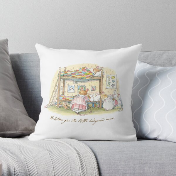 Lady Woodmouse gets the little mice into bed Throw Pillow