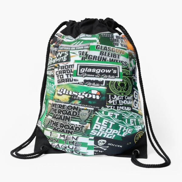 Glasgow Celtic - Green & White - GLSGOW -The Fields of Athenrye -GCFC ULTRAS 100+ Stickers Drawstring Bag