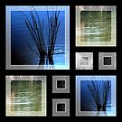 Blue Green Water Collage.  by Elizabeth Rodriguez