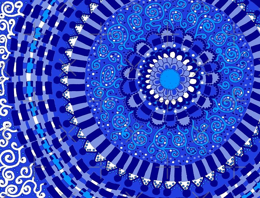 Blue, Blue, Blue Mandala by Clare Wuellner
