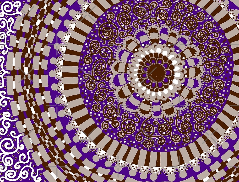 Tan, Brown, and Purple Mandala by Clare Wuellner