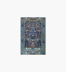 Blue Antique Persian Isfahan Silk Rug with Flowers Animals Art Board