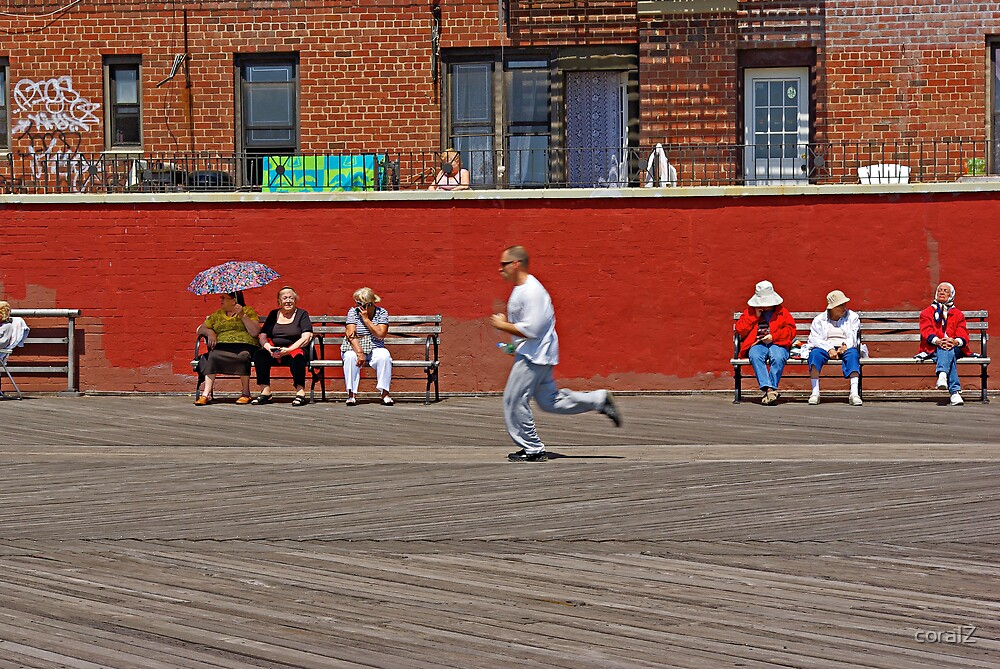 Enjoying Sunshine on a Boardwalk in Brighton Beach, New York by coralZ