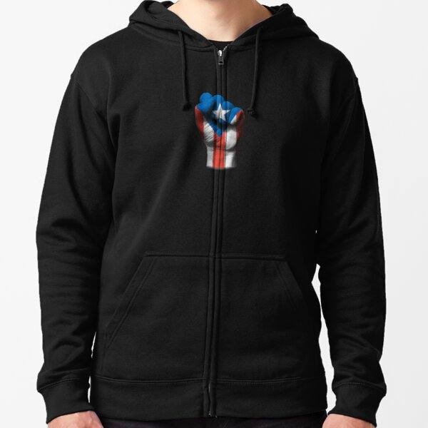 Flag of Puerto Rico on a Raised Clenched Fist  Zipped Hoodie