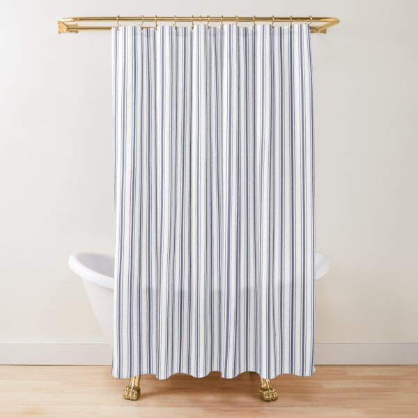 Mattress Ticking Narrow Striped Pattern in USA Flag Blue and White Shower Curtain