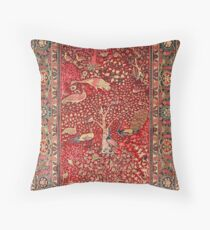 Antique Persian Rug Bird Tree Flowers Throw Pillow