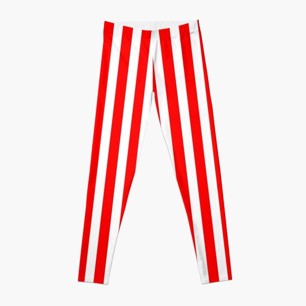 Red Vertically-Striped Leggings