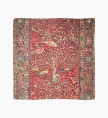 Antique Persian Rug Bird Tree Flowers Scarf