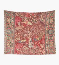 Antique Persian Rug Bird Tree Flowers Wall Tapestry
