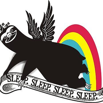Funny sloth unicorn angel rainbow sleep by BigMRanch