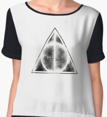 HP Hallows - sand explosion voids with background (black) - wand, cloak , stone Chiffon Top