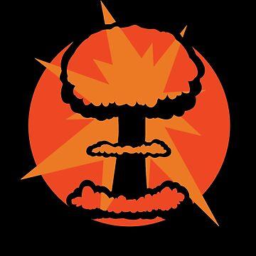 Nuclear Bomb Mushroom Cloud Retro Design by 2catminimum