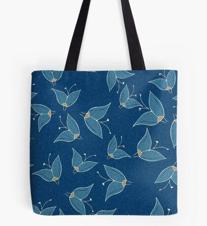 Grainy Blue Butterfly Flowers Tote Bag