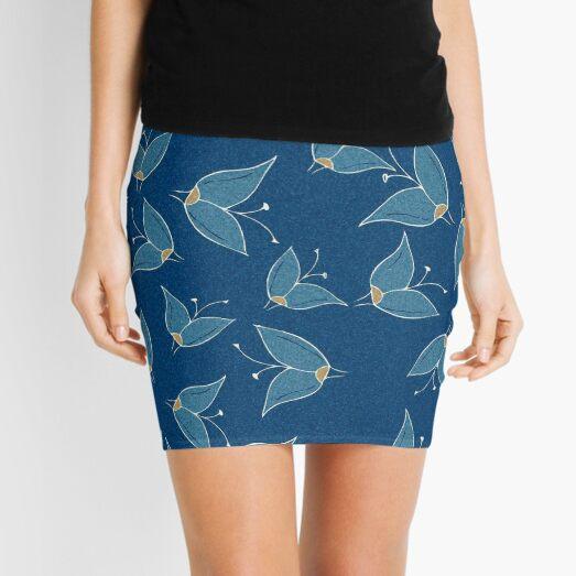 Blue Flutter Pattern Mini Skirt
