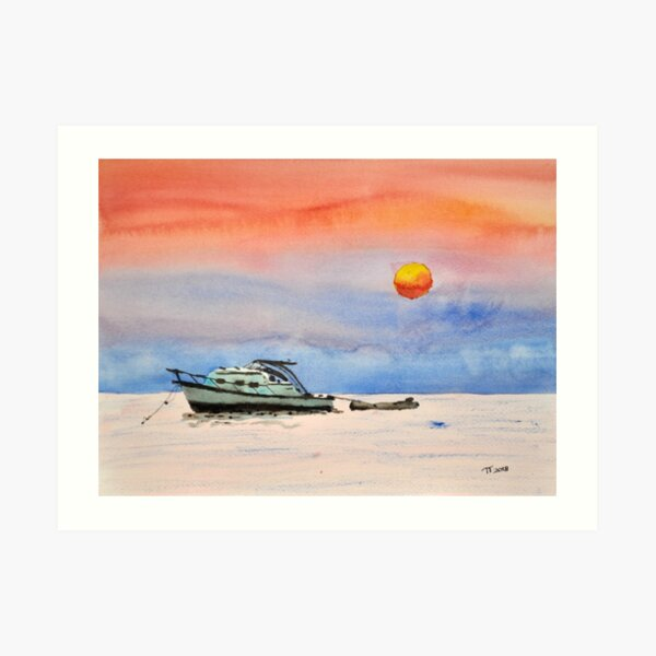 sunset boat Art Print