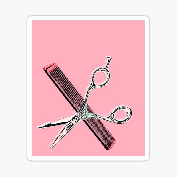 hairstylist shears and comb vector Sticker