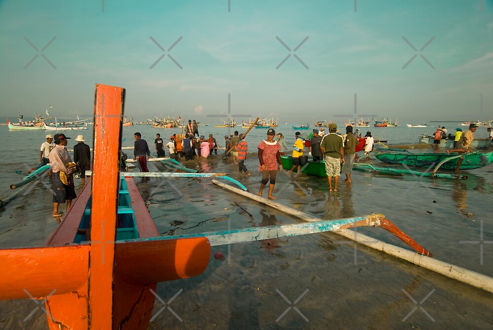 Orange Outrigger Boat. by Marion Ardana