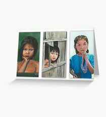 THE LITTLE GIRLS/Oil on canvas Greeting Card