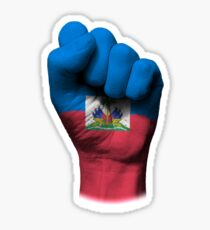 Flag of Haiti on a Raised Clenched Fist  Sticker