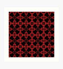 Red and Black Celtic Cross Pattern Art Print