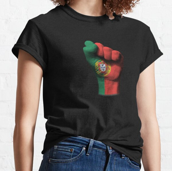 Flag of Portugal on a Raised Clenched Fist  Classic T-Shirt