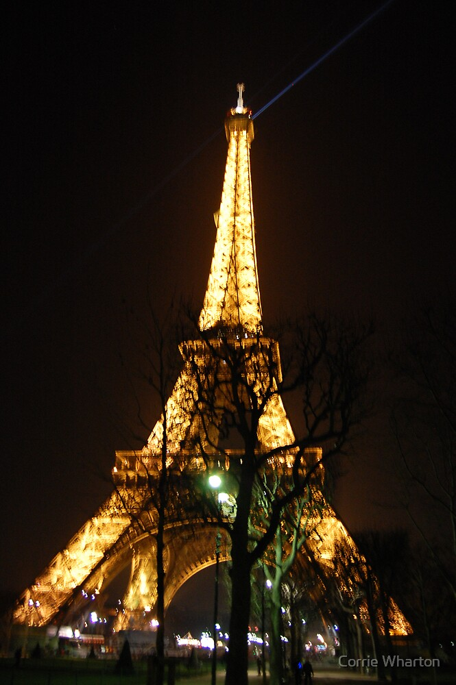 Eiffel Tower lights by night by Corrie Wharton