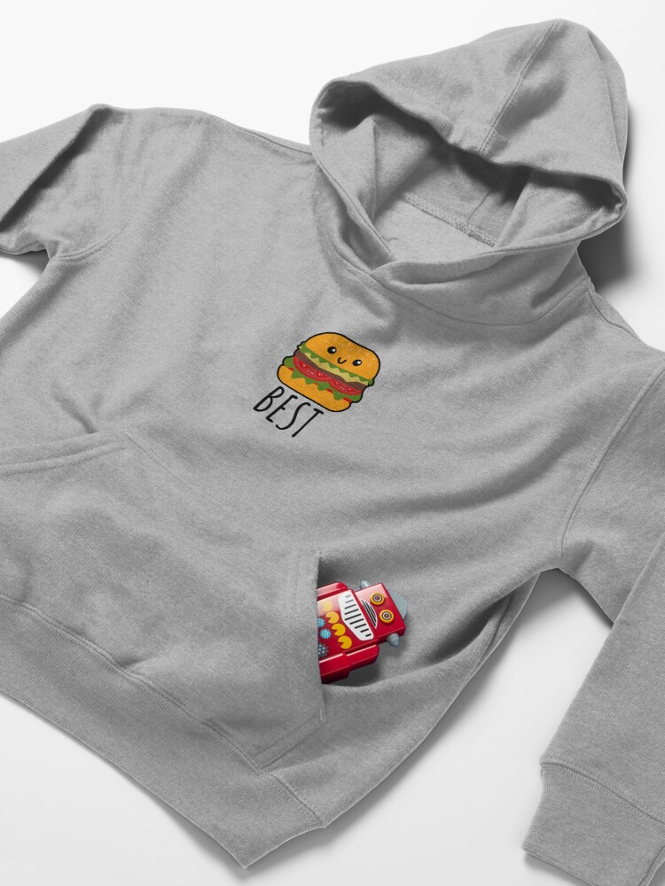 Alternate view of Best Friends - Burger and Fries Matching Gift Kids Pullover Hoodie
