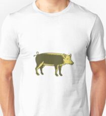 Tamworth Pig Side Woodcut Unisex T-Shirt