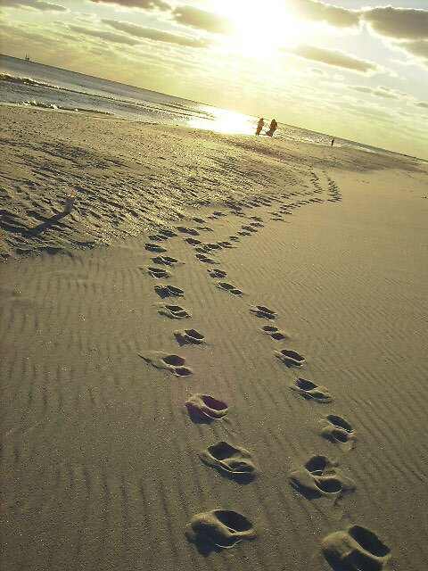 Foot prints in the sand by karen salley-rice