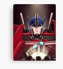 Optimus Prime w/ Earth and Cybertron Canvas Print