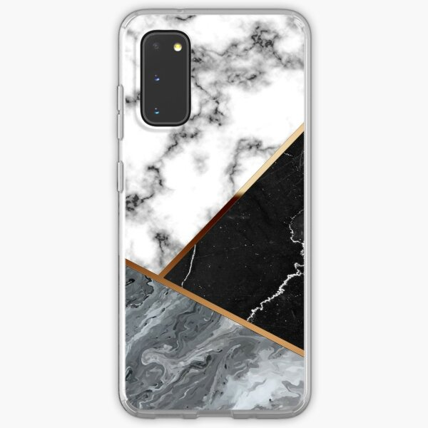 Elegant silver marble with bronze lining Samsung Galaxy Soft Case