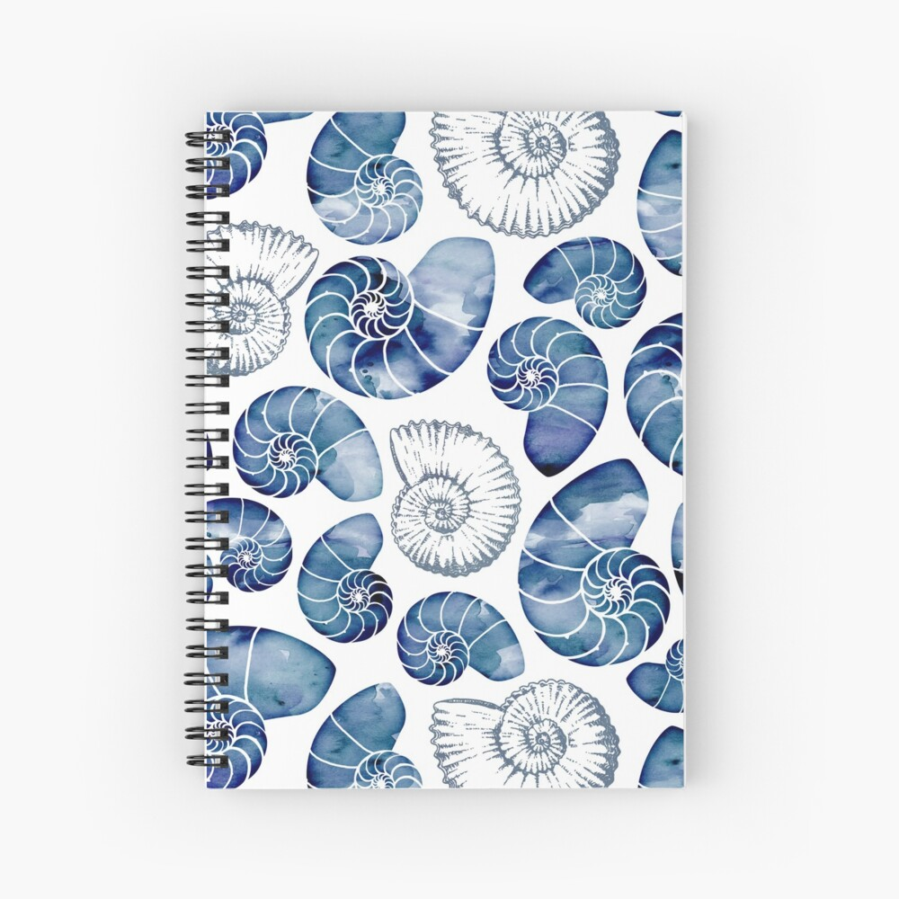 Blue nautilus shells on white Spiral Notebook