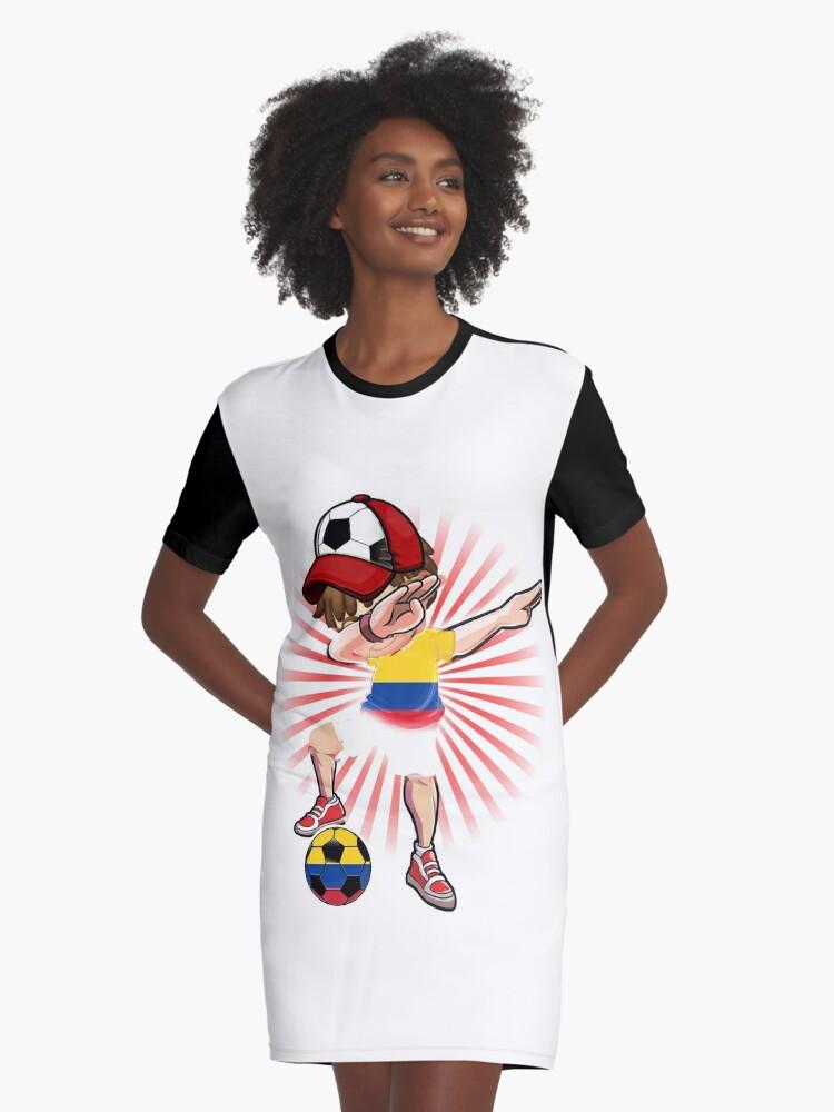 d842d1a9e Dabbing Soccer Boy Colombia Jersey Shirt Colombian Football Graphic T-Shirt  Dress