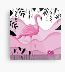 Pink Flamingo Metallbild