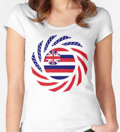 Hawaiian Murican Patriot Flag Series Fitted Scoop T-Shirt