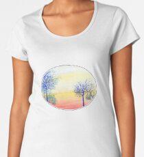 Sunset with Blue Trees Women's Premium T-Shirt