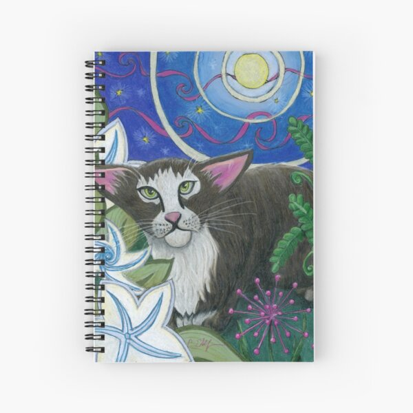 By Moonlight Black and White Cat Spiral Notebook