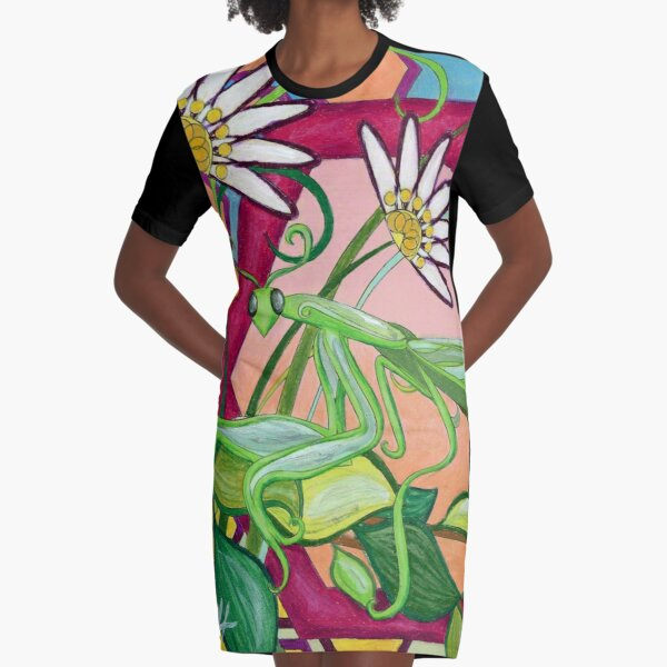 Praying Mantis in Flowers Graphic T-Shirt Dress